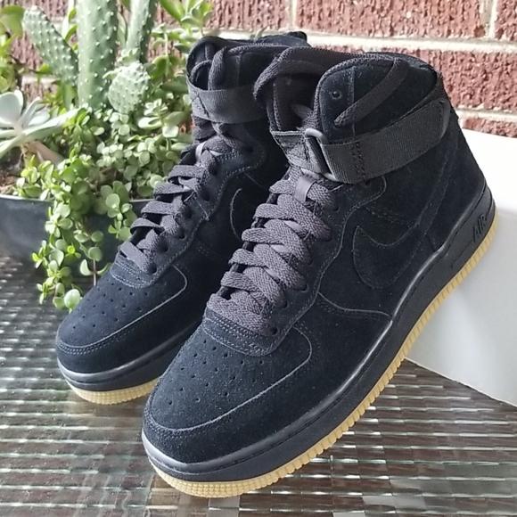 Nike Air Force 1 High LV8 (GS) Black Suede 5.5Y/7W